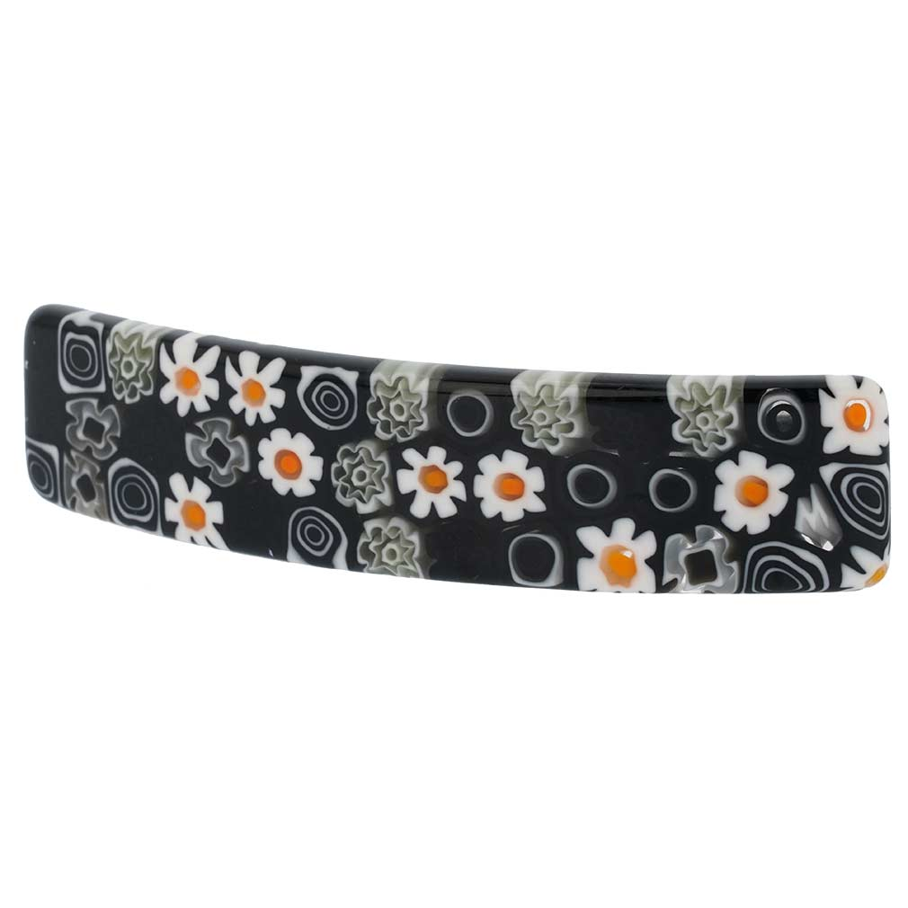 Murano Millefiori Hair Clip - Black and White
