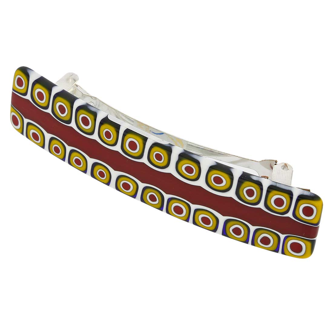 Murano Millefiori Hair Clip - Maroon and Yellow