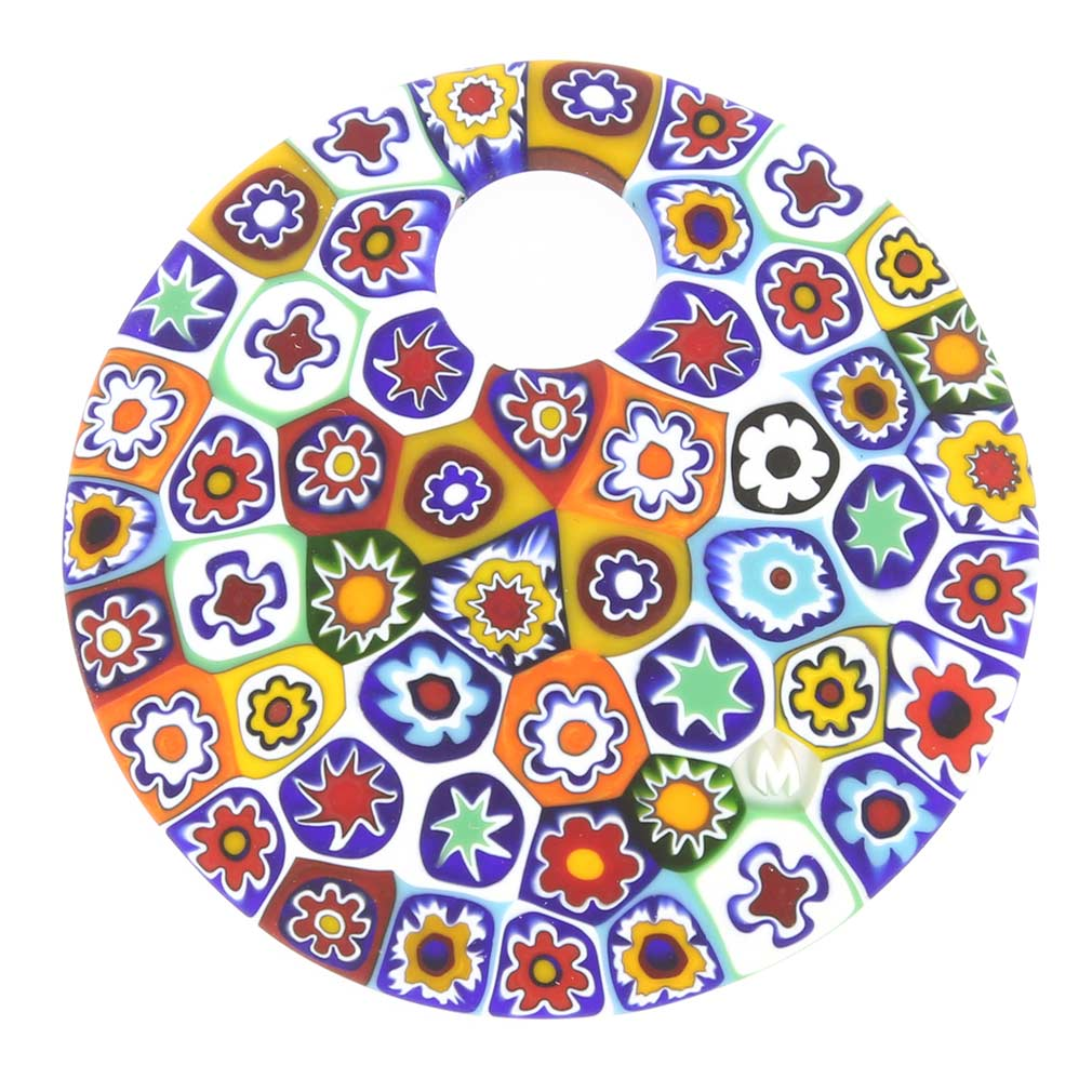 Color Splash Millefiori Pendant- Large Round