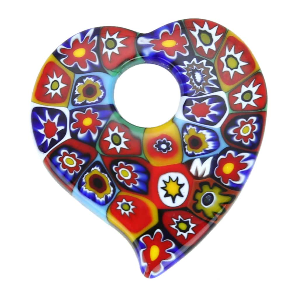 Elegant Millefiori Heart Pendant - Multicolor