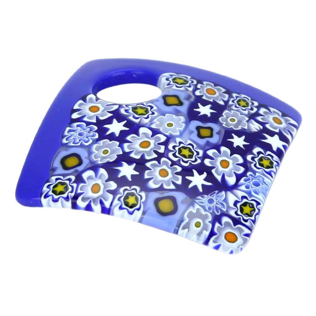 Curved Square Millefiori Pendant - Cobalt Blue