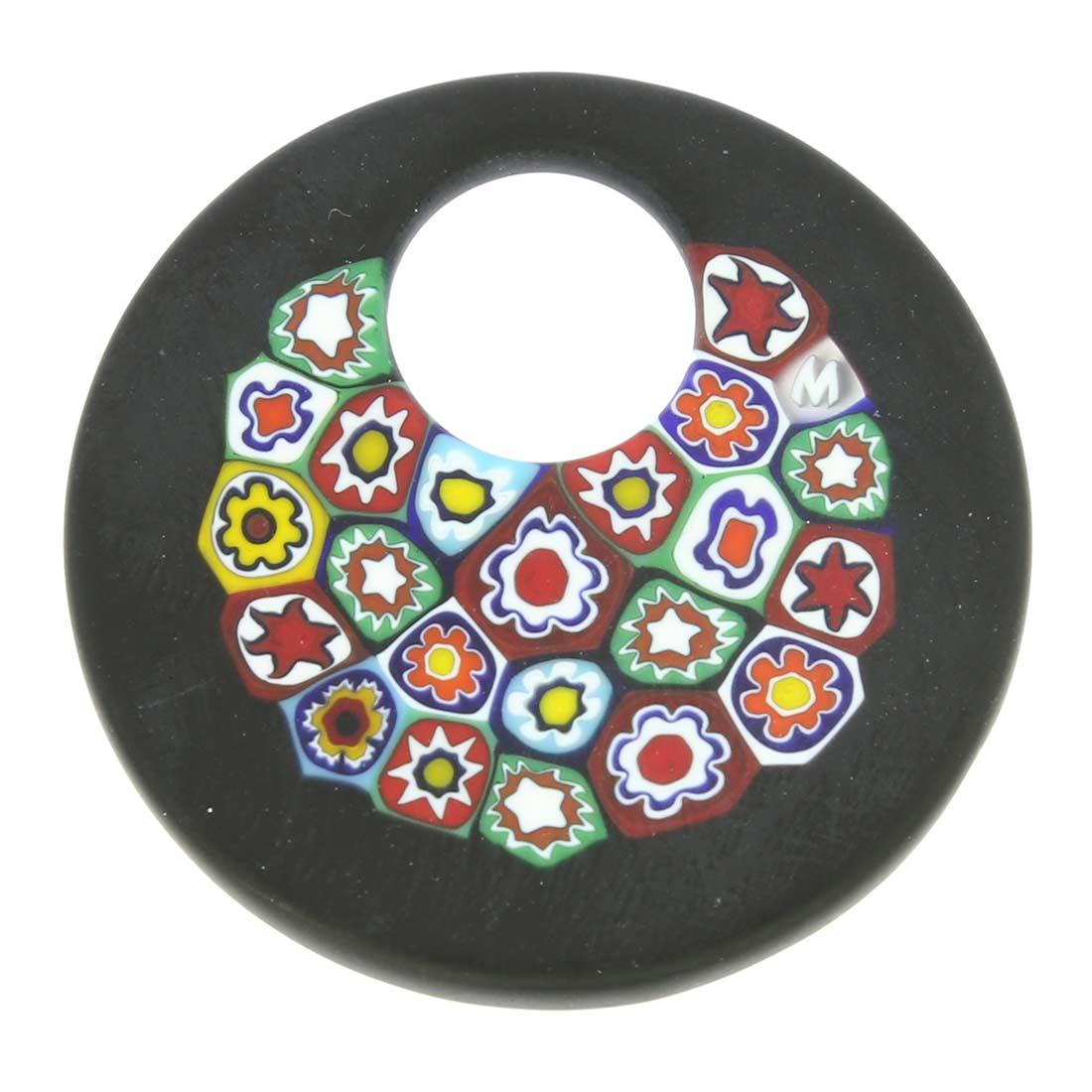 Black Millefiori Murano Glass Pendant - Round