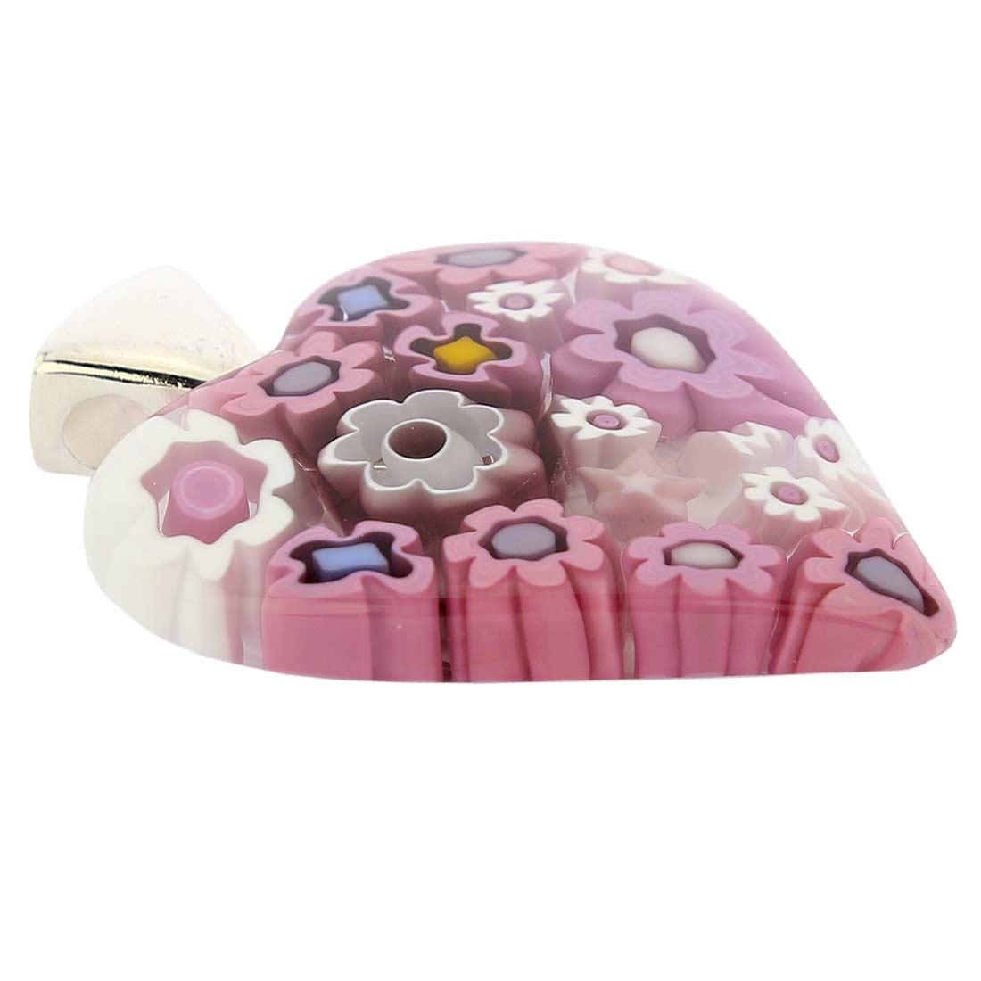Modern Millefiori Heart Pendant - Tender Pink