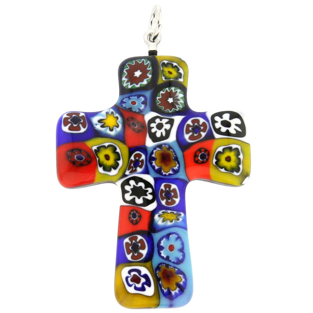 Color Splash Murano Millefiori Cross pendant