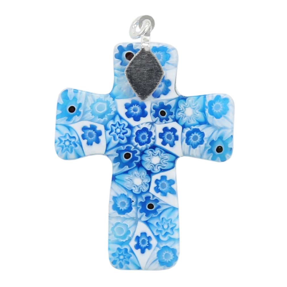 Tender Blue Murano Millefiori Cross Pendant