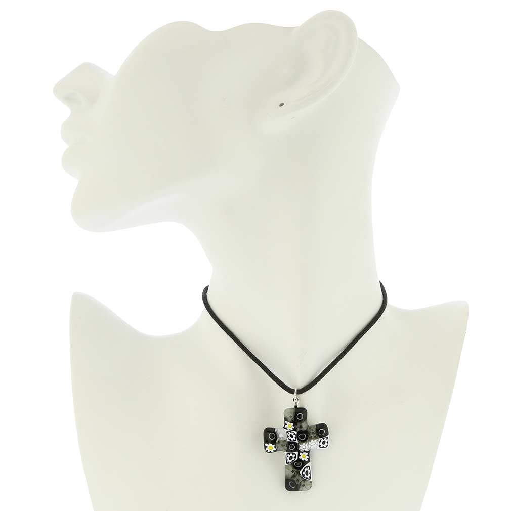 Black and White Murano Millefiori Cross Pendant