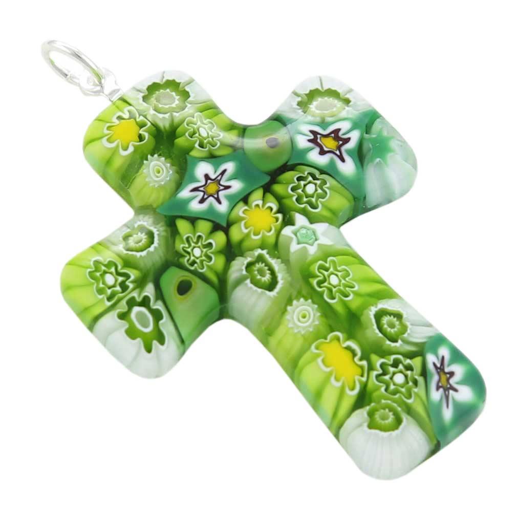 Green Murano Millefiori Cross Pendant