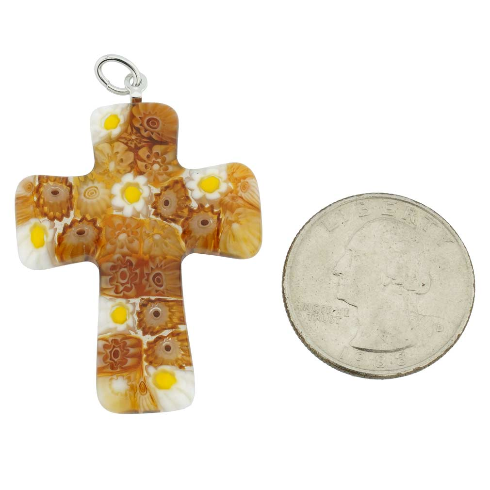 Golden Brown Murano Millefiori Cross Pendant