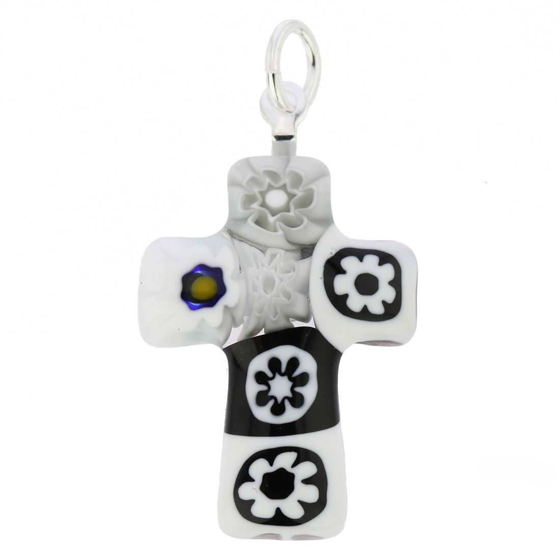 Black and White Millefiori Small Cross Pendant