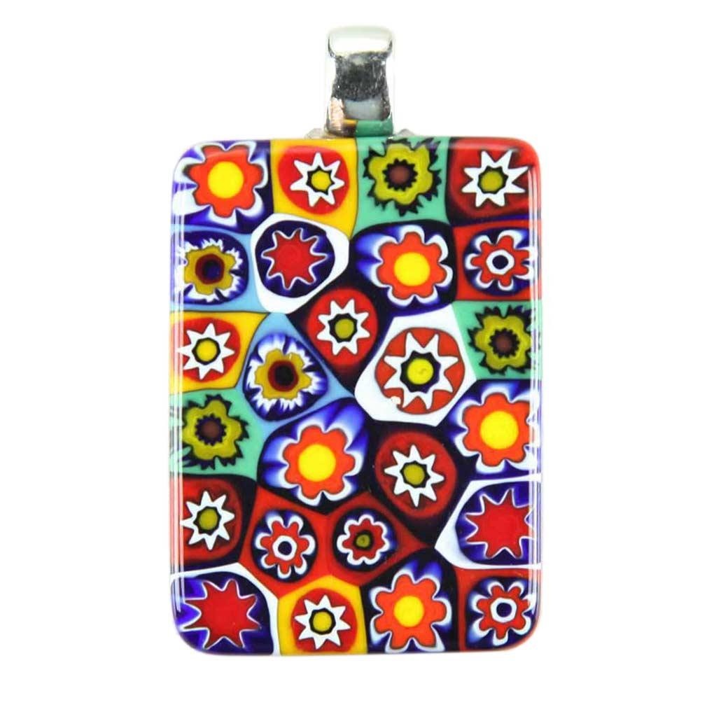 Millefiori Pendant Rectangular - Multicolor