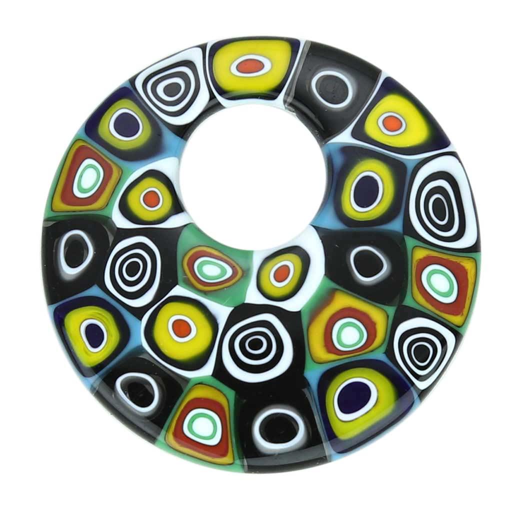 Millefiori Medium Round Pendant - Abstract Multicolor