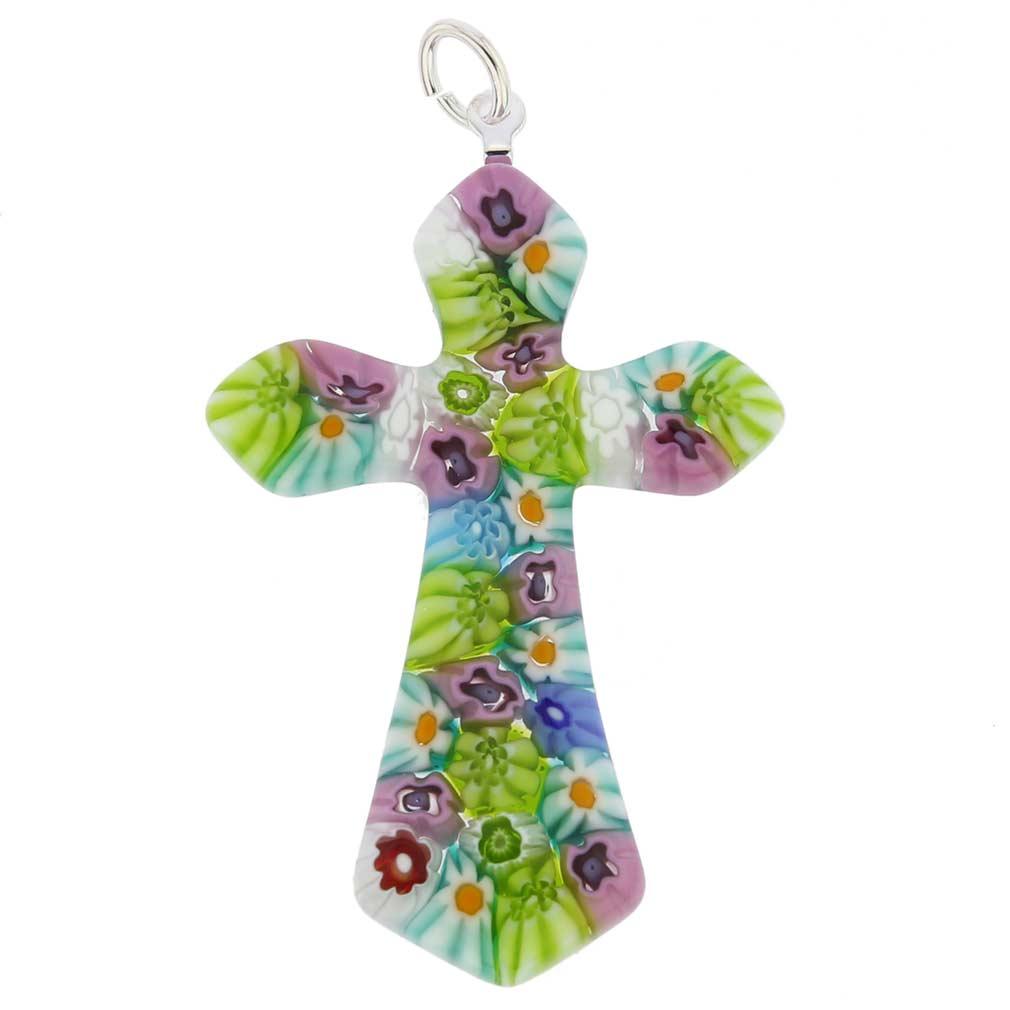 Multicolor Millefiori Elegant Cross Pendant