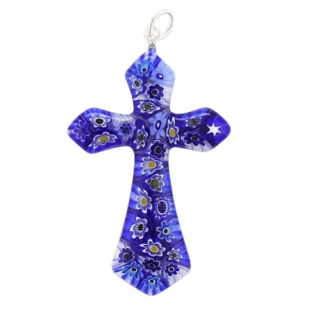 Blue Millefiori Elegant Cross Pendant