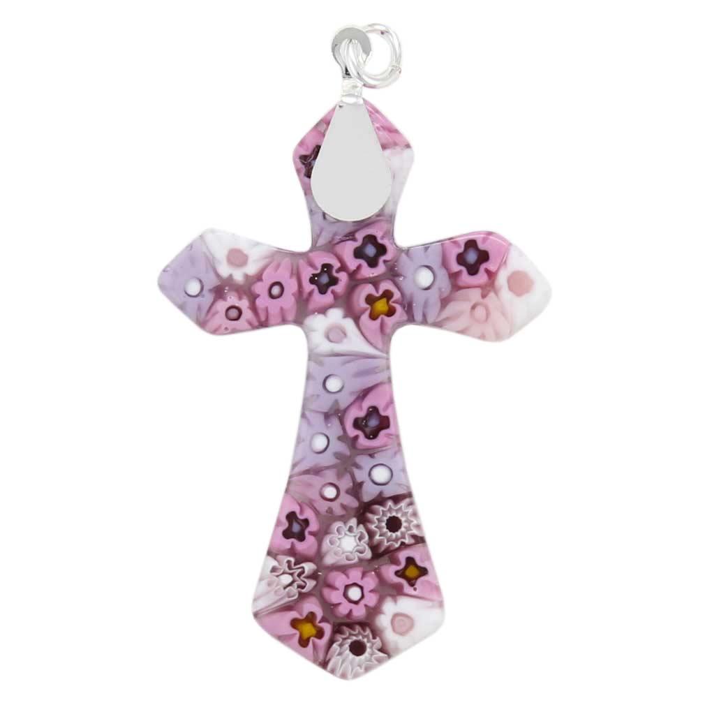 Tender Pink Millefiori Elegant Cross Pendant