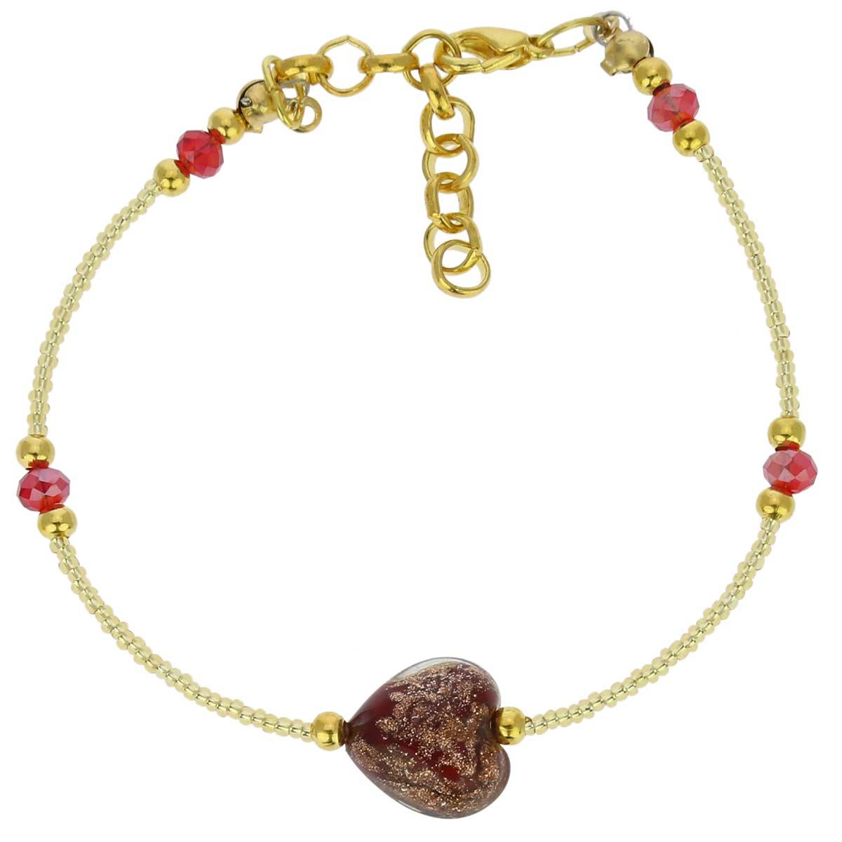 Murano Heart Bracelet - Red Sparkles