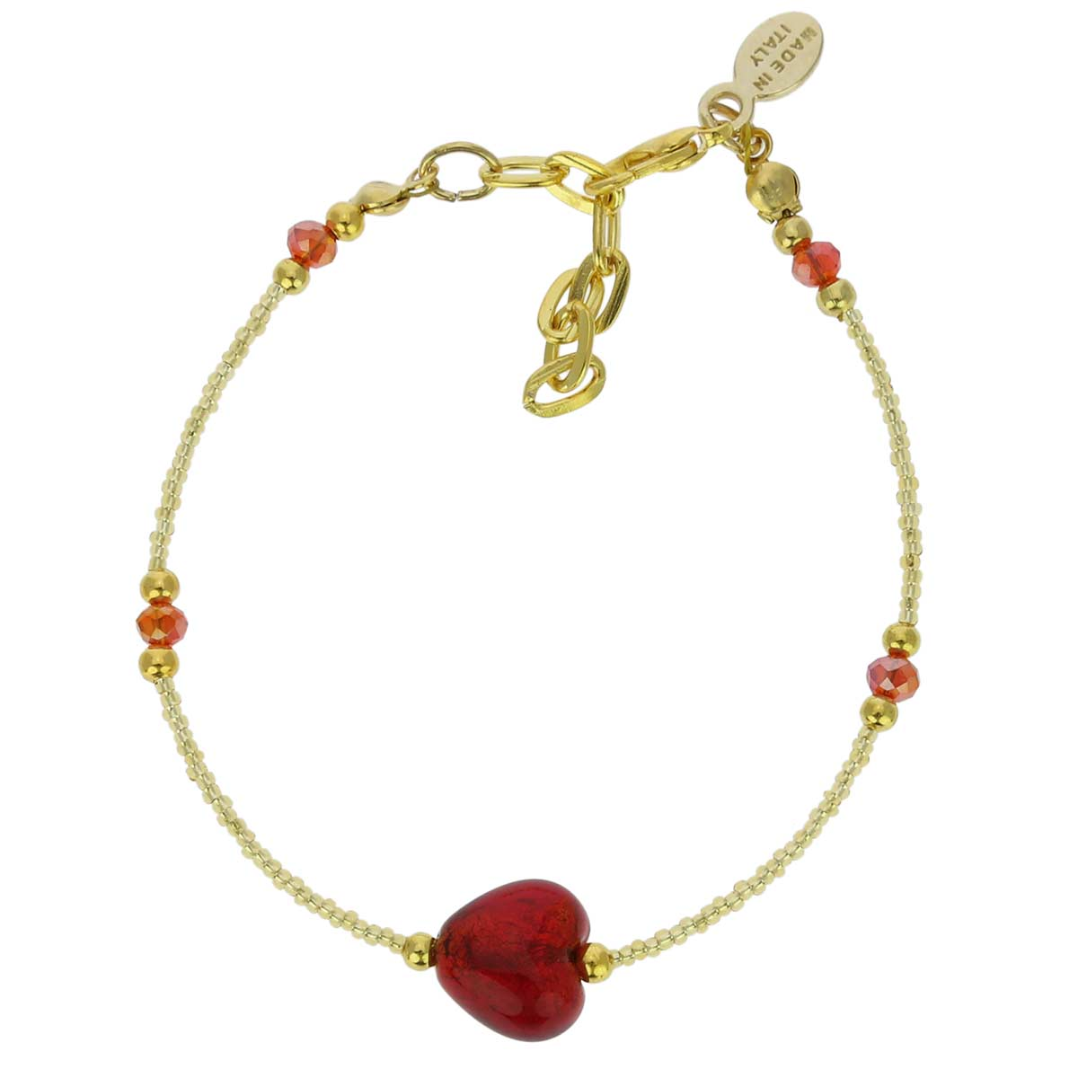 Murano Heart Bracelet Ruby Red