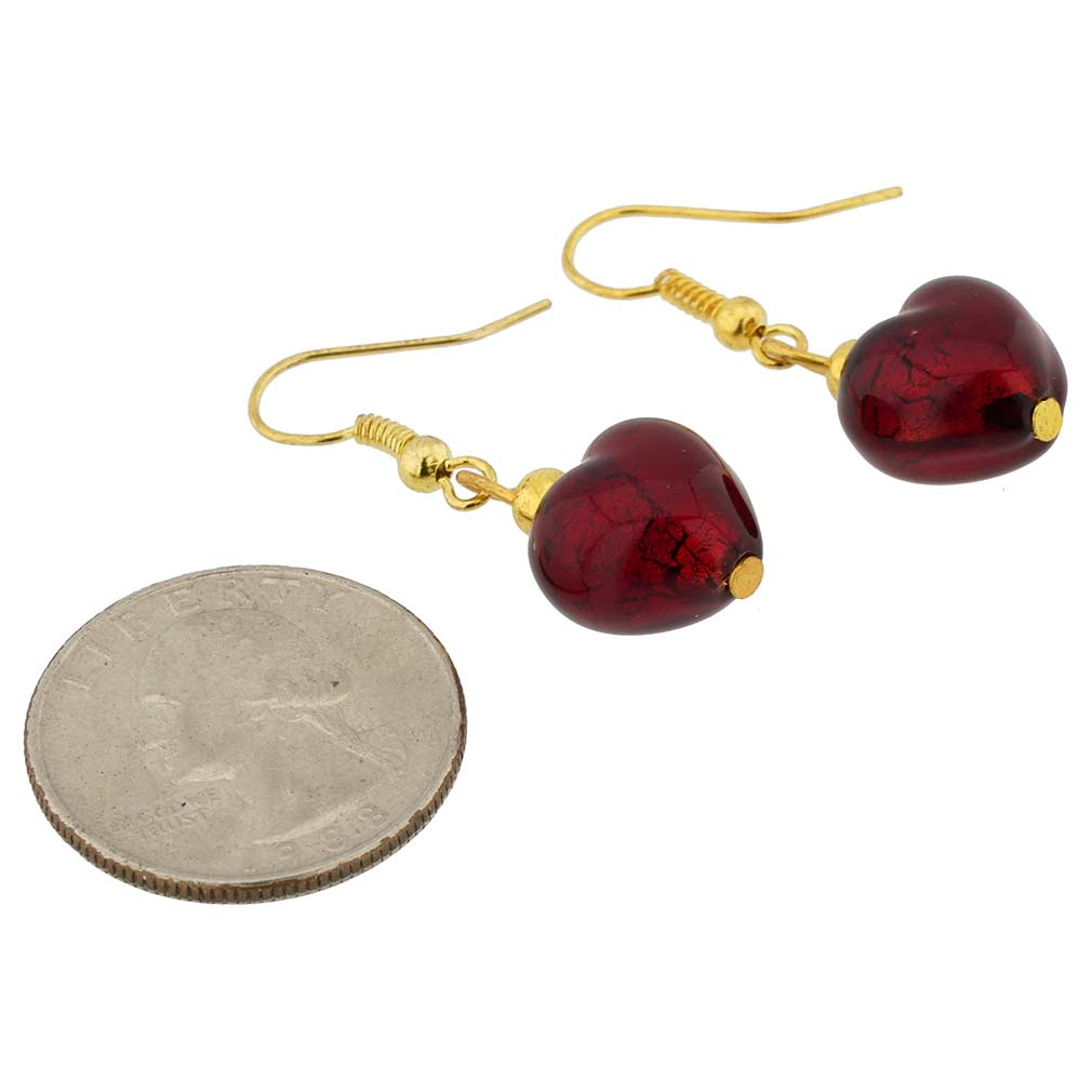 Murano Heart Earrings - Ruby Red