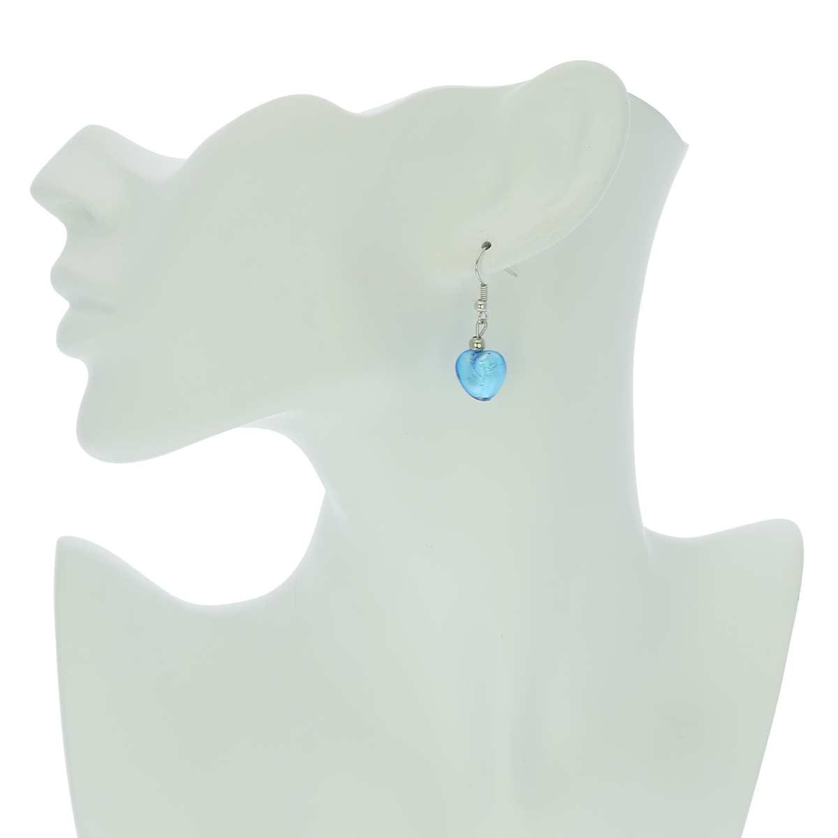 Murano Heart Earrings - Sky Blue