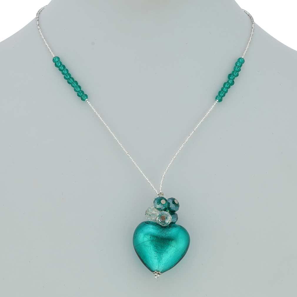 Venetian Love Heart Necklace - Purple
