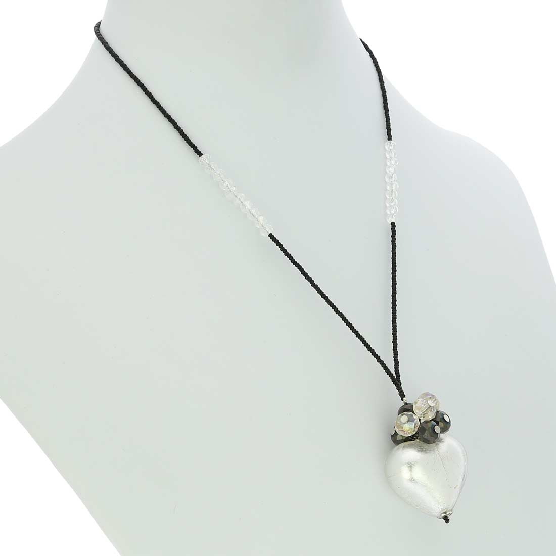 Venetian Love Heart Necklace - Silver