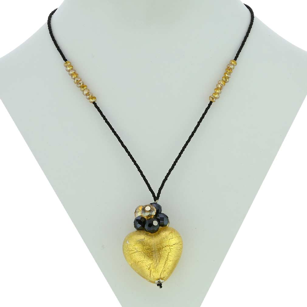 Venetian Love Heart Necklace - Red and Gold