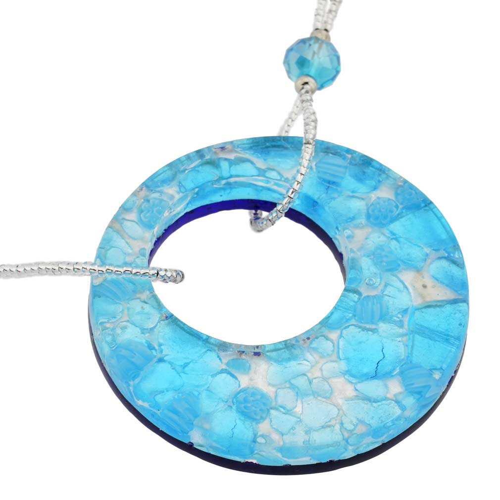 Murano Lava Necklace - Aqua Blue