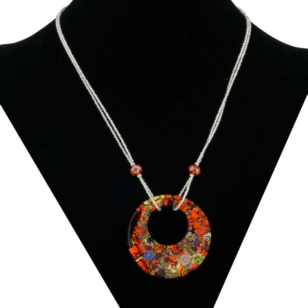 Murano Lava Necklace - Red and Black