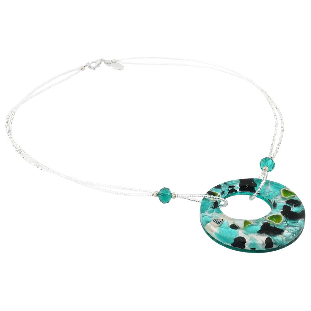 Murano Lava Necklace - Silver Black