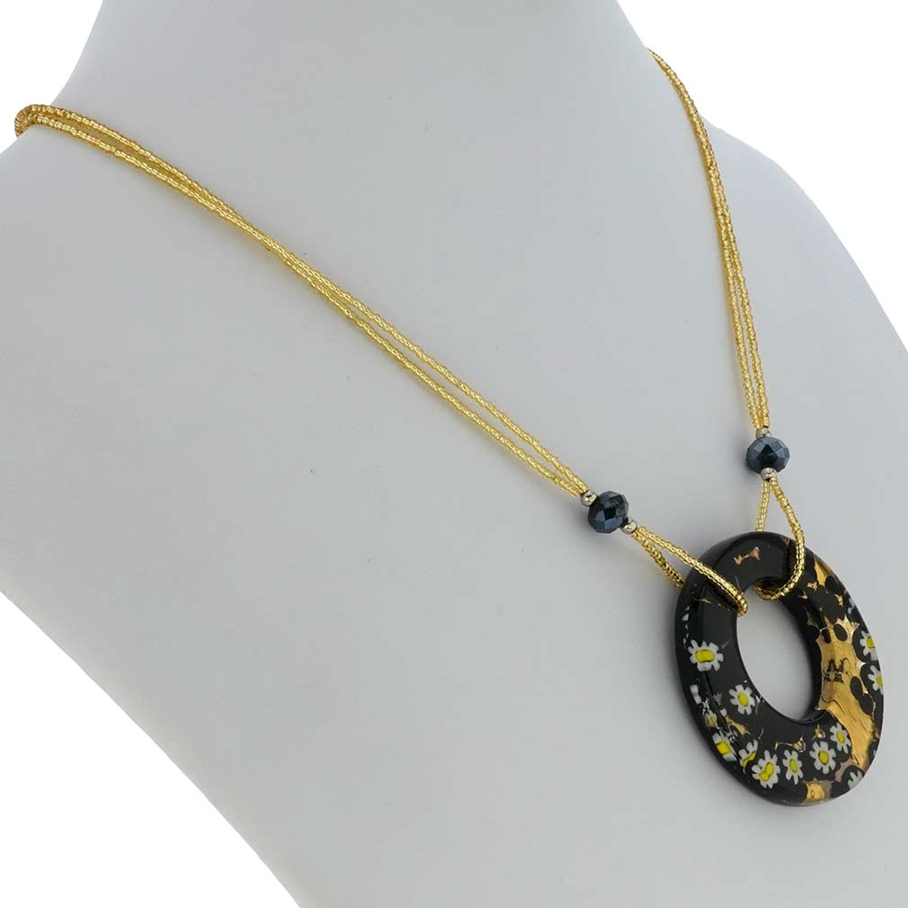 Murano Lava Necklace - Black and Gold
