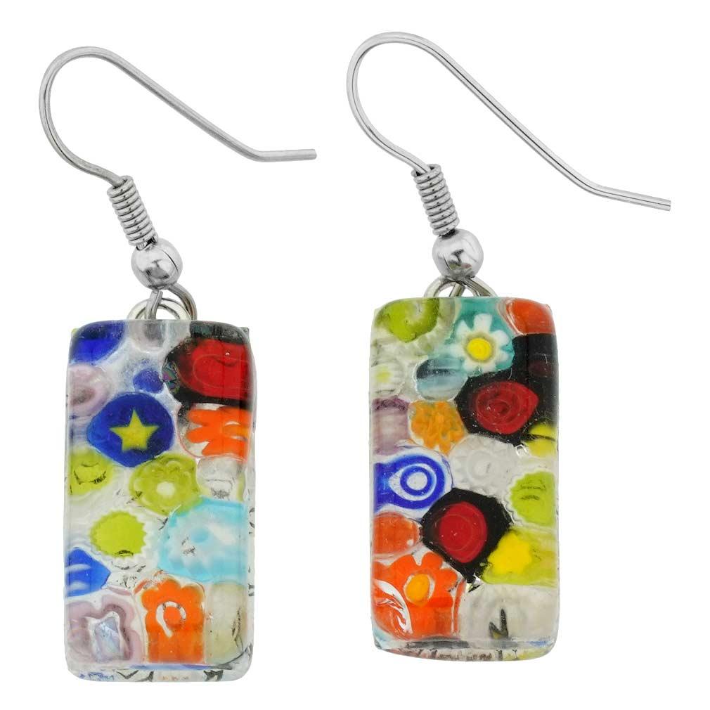 Millefiori Rectangular Earrings - Clear Multicolor