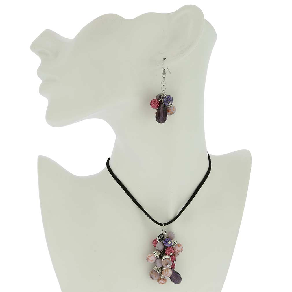 Venetian Charms Murano Jewelry Set - Amethyst