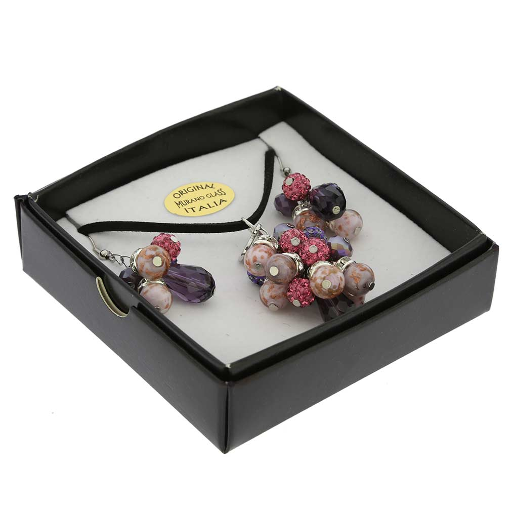 Venetian Charms Murano Necklace and Earrings Set - Purple