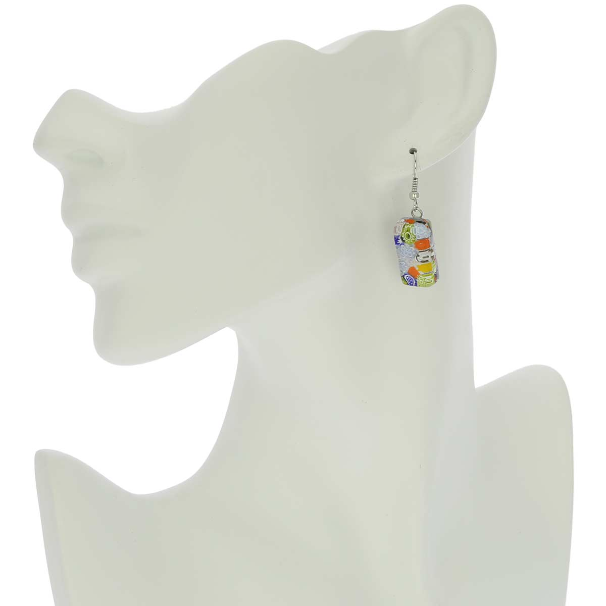 Murano Glass Millefiori Square Necklace and Earrings Set