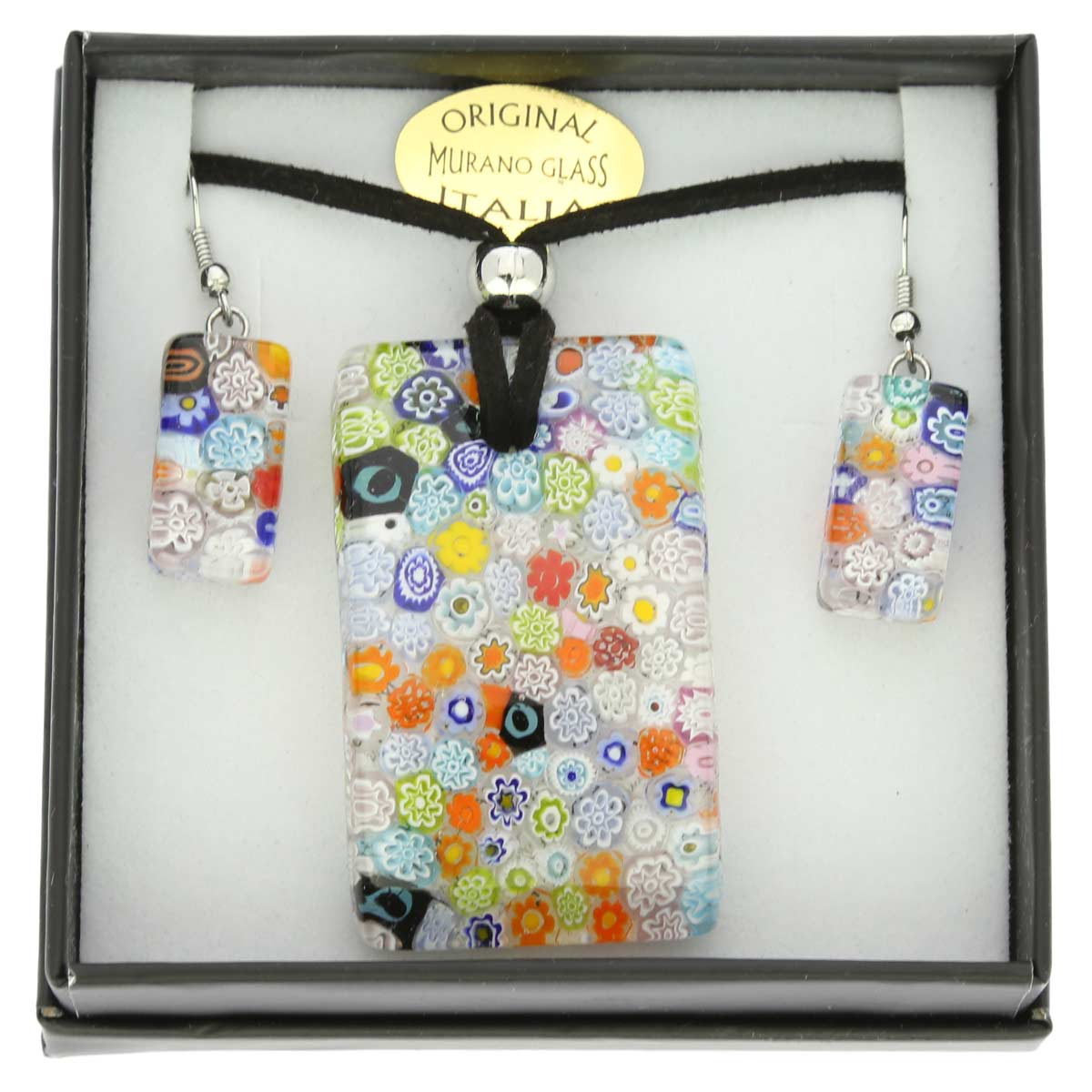 Murano Glass Millefiori Necklace and Earrings Set