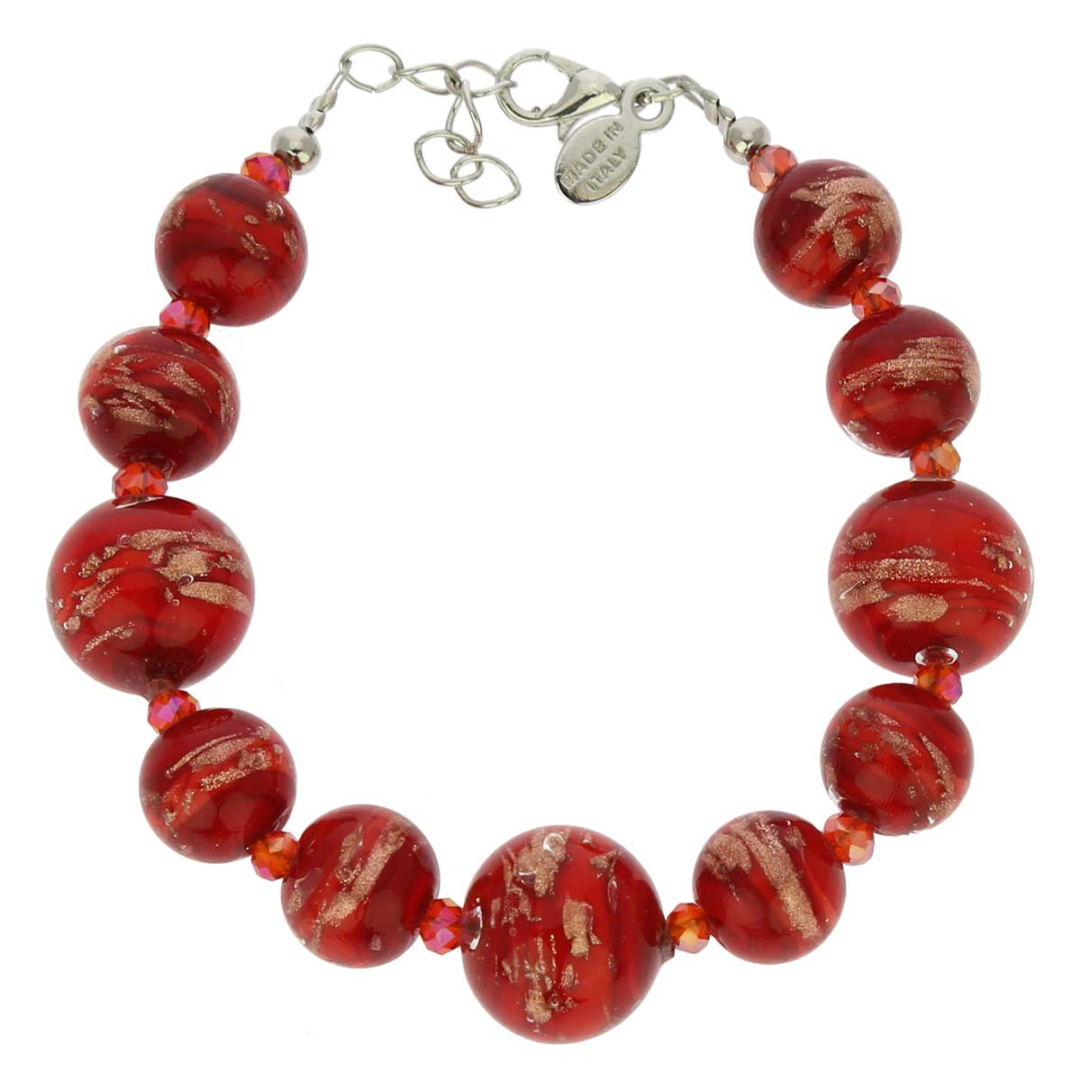 Starlight Balls Murano Bracelet - Fire Red