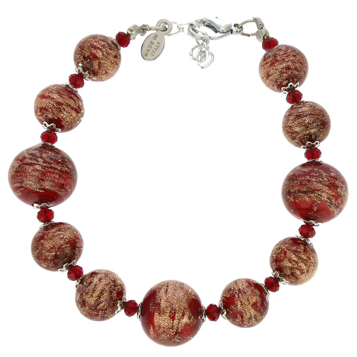 Starlight Balls Murano Bracelet - Red
