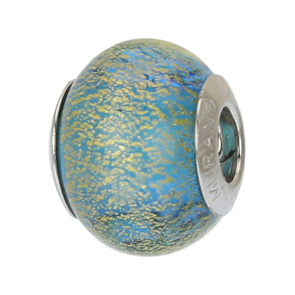 Sterling Silver Ca D\'Oro Aqua Murano Glass Charm Bead