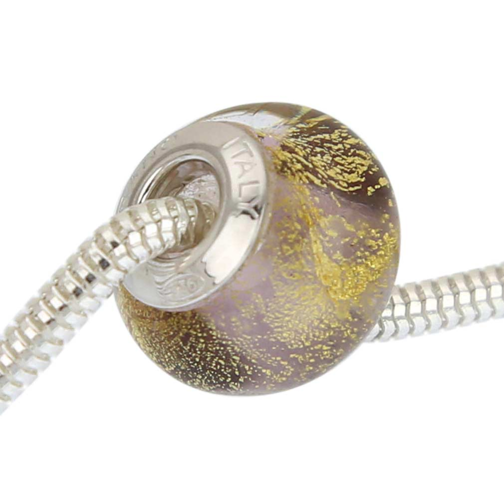 Sterling Silver Ca D\'Oro Purple Murano Glass Charm Bead