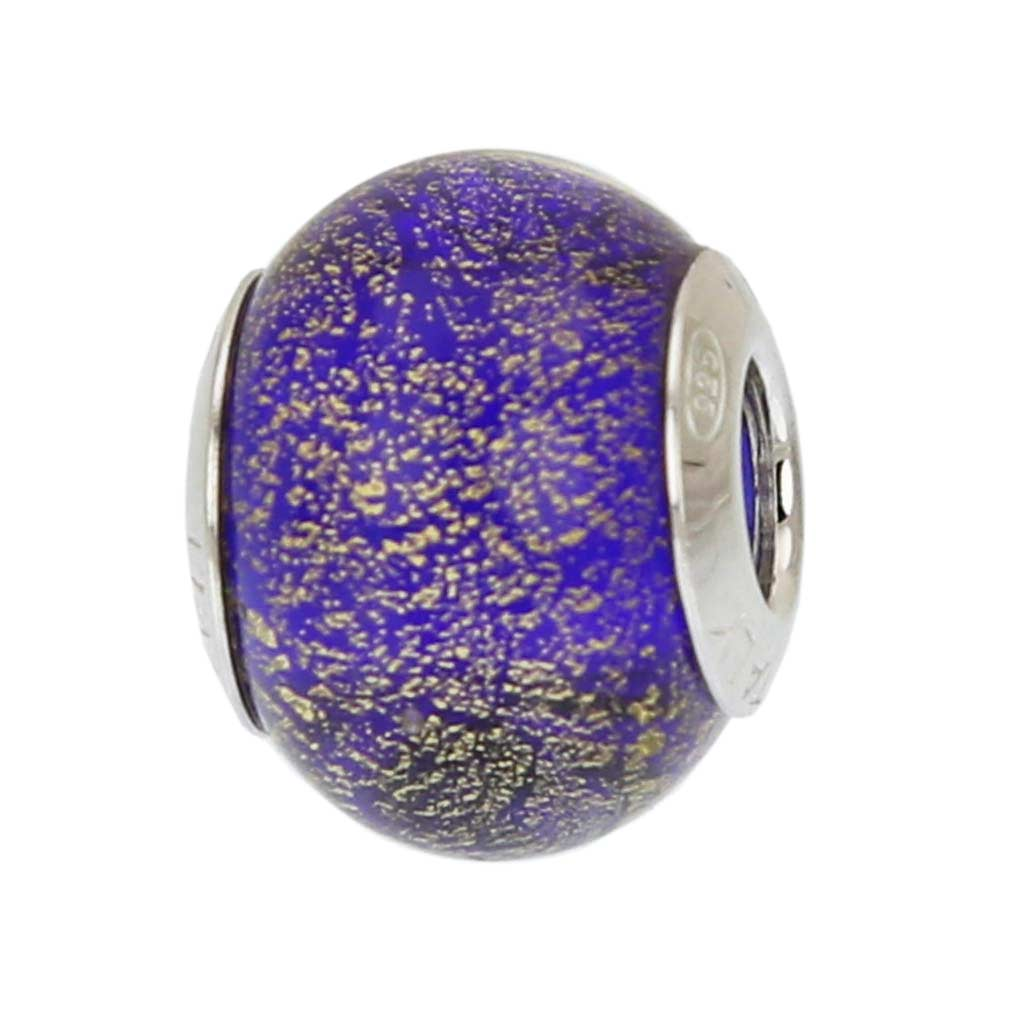 Sterling Silver Ca D\'Oro Blue Murano Glass Charm Bead