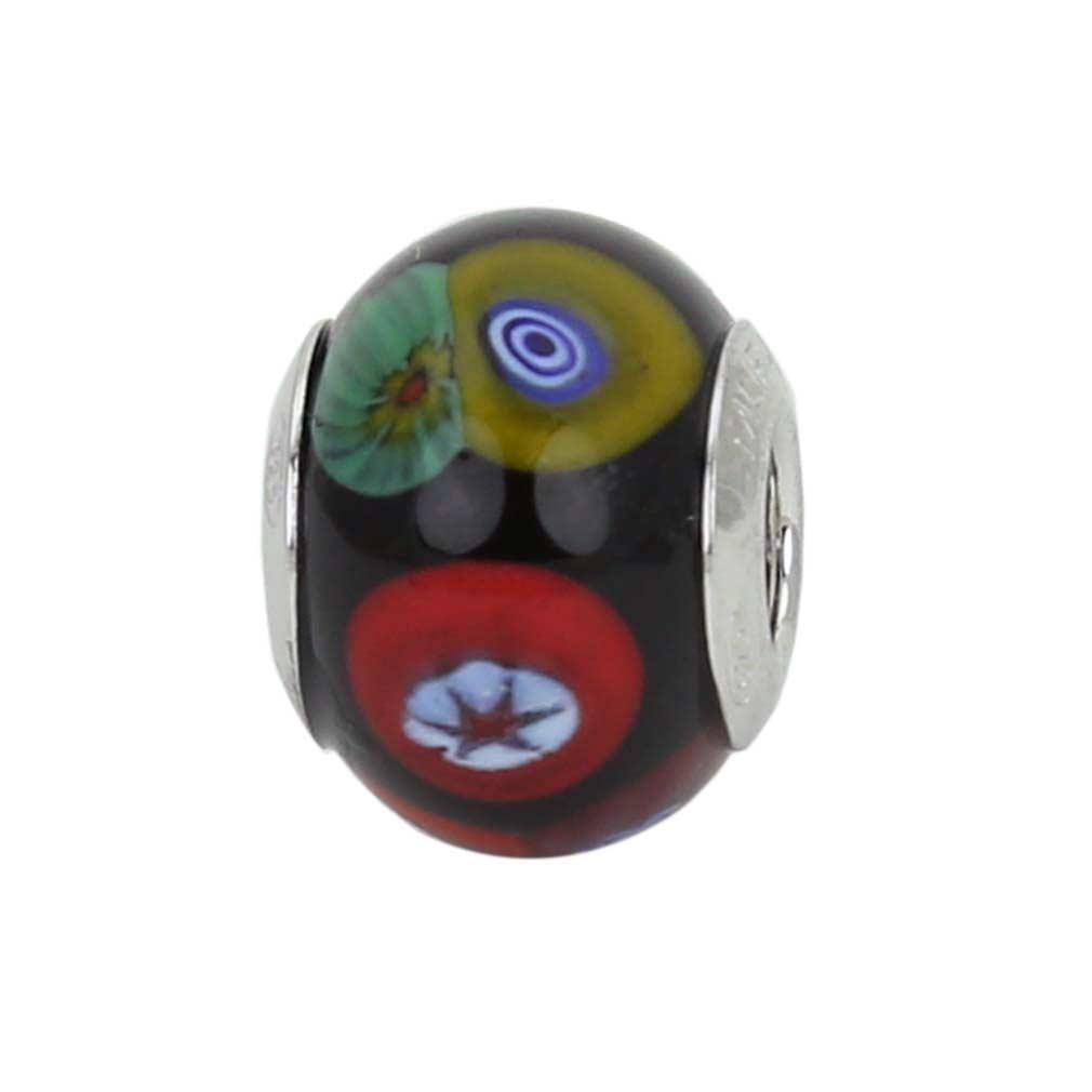Sterling Silver Millefiori Mosaic Murano Glass Charm Bead