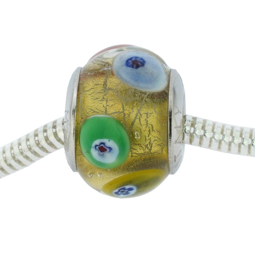 Sterling Silver Millefiori Mosaic Gold Murano Glass Charm Bead
