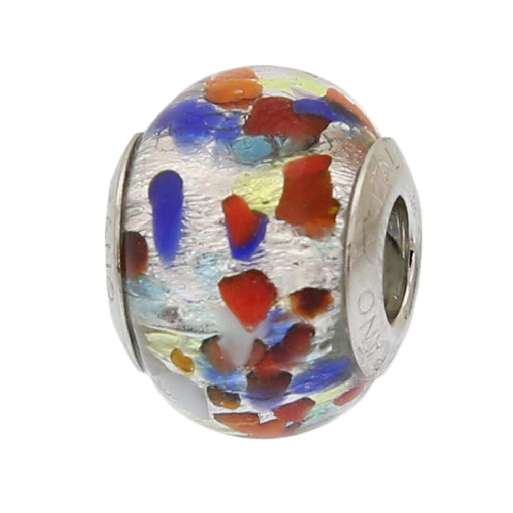 Silver Multicolor Confetti Murano Glass Charm Bead