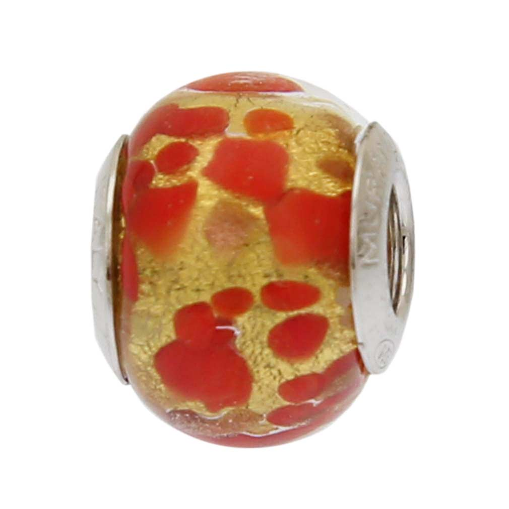 Red Gold Confetti Murano Glass Charm Bead