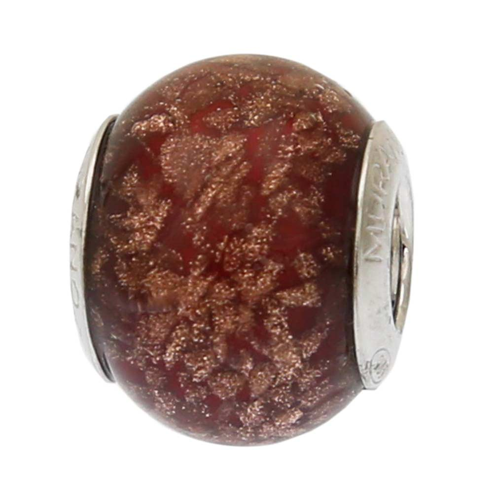 Sterling Silver Red Avventurina Murano Glass Charm Bead