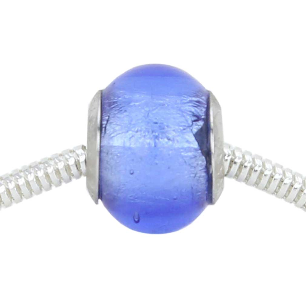 Sterling Silver Blue Murano Glass Charm Bead