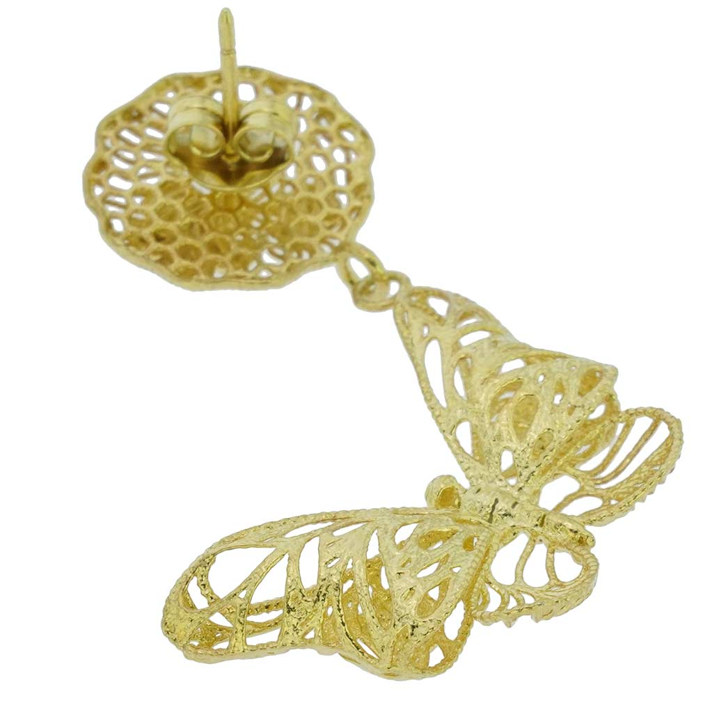 Butterfly Sterling Silver Gold-Plated Earrings