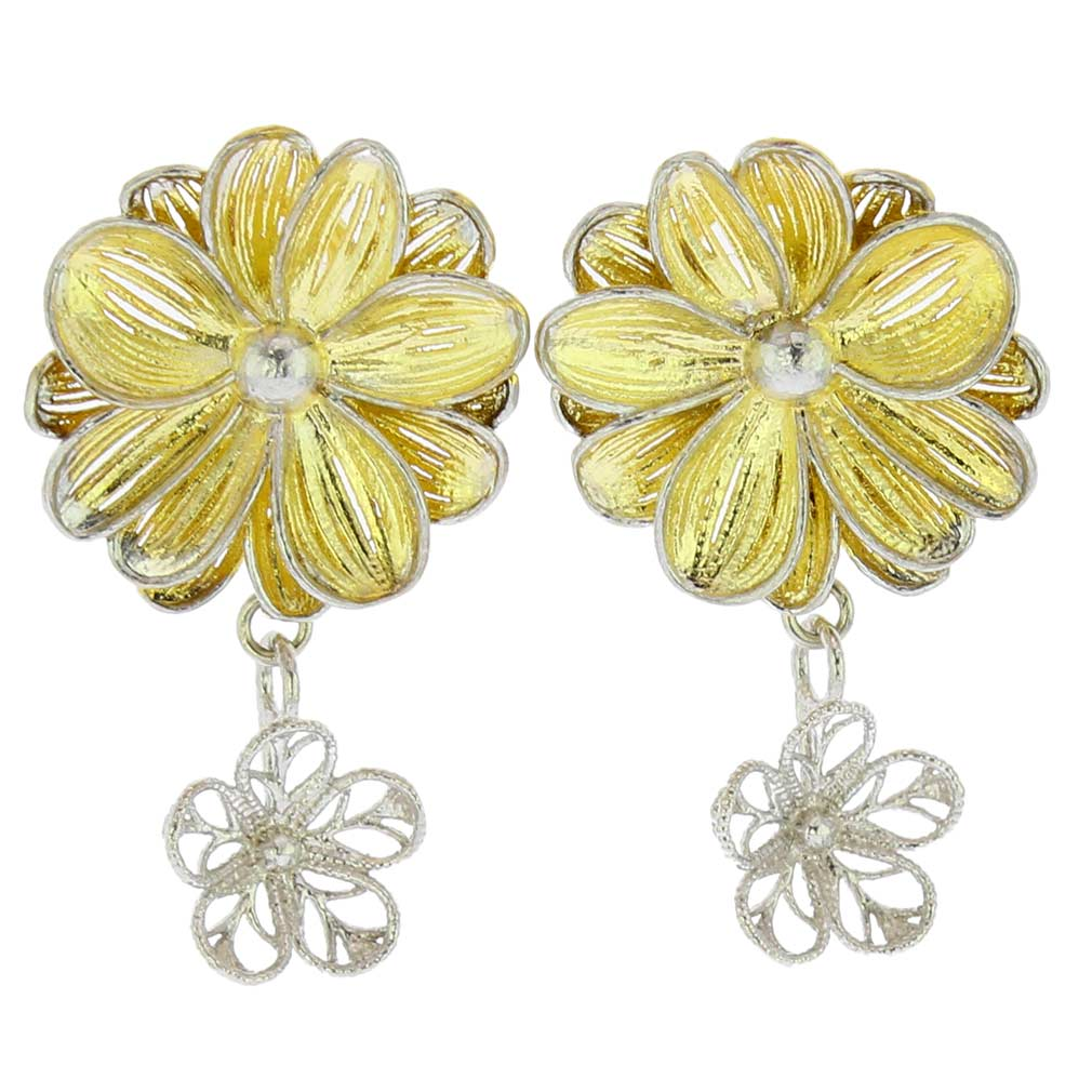 y murano sterling earrings gold plated jewelry italian flower goldplated ol fluid silver p