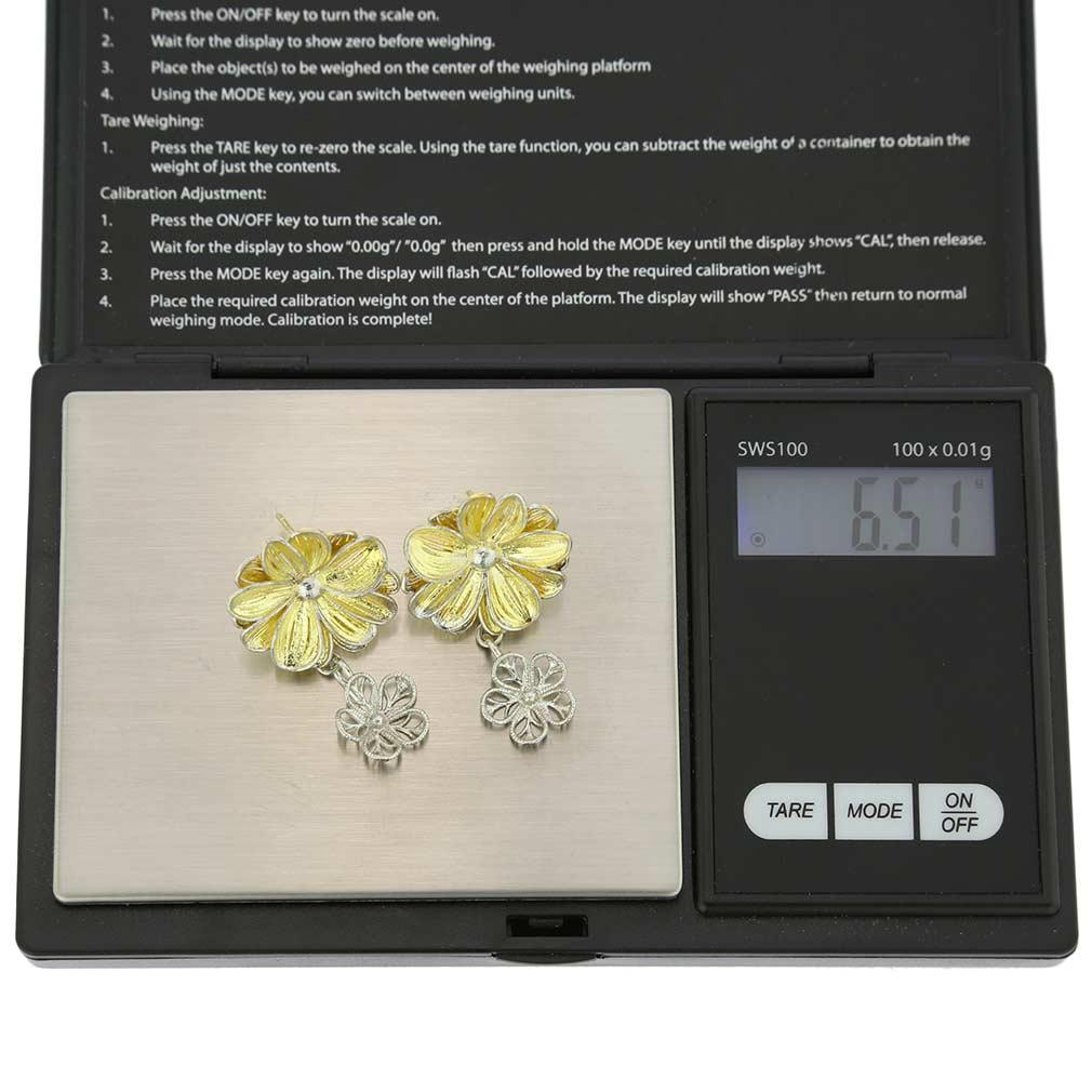 Daisy Flower Sterling Silver Gold-Plated Earrings
