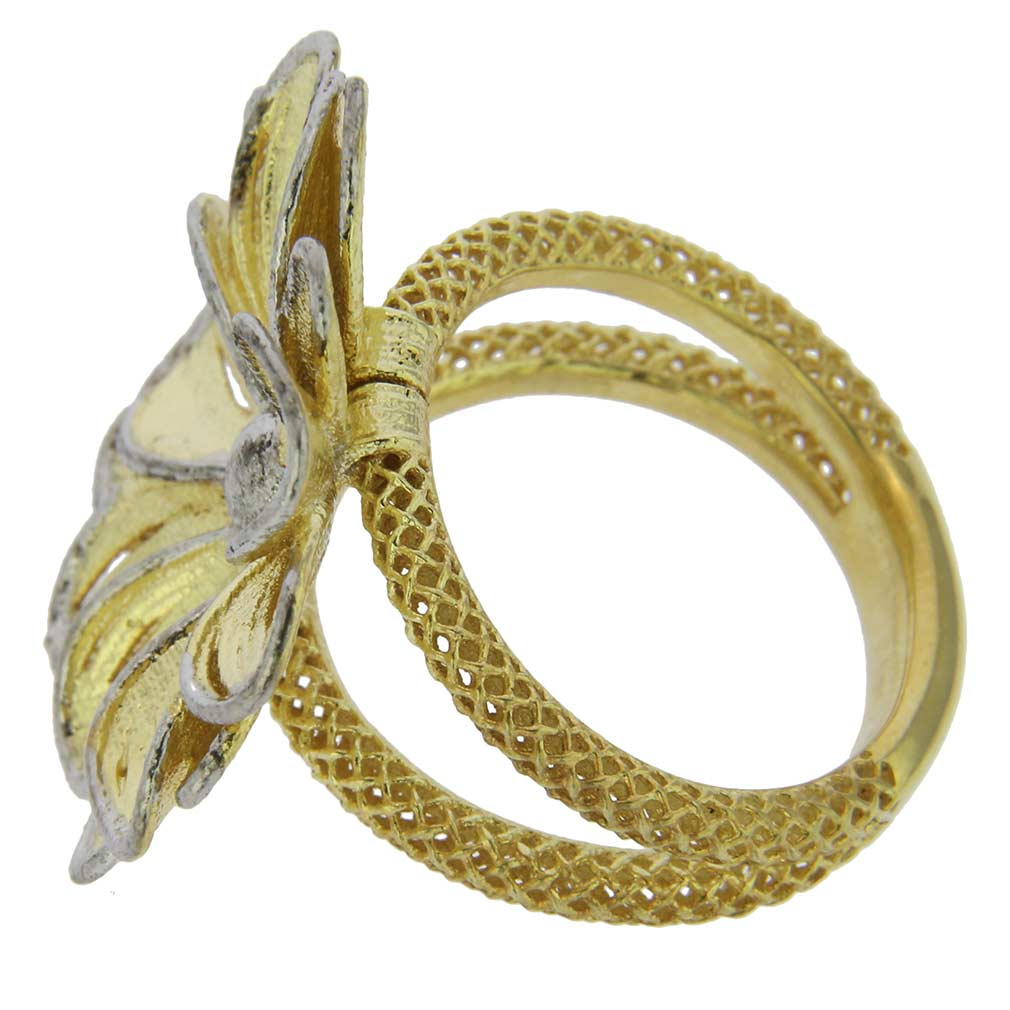 Daisy Flower Sterling Silver Gold-Plated Ring