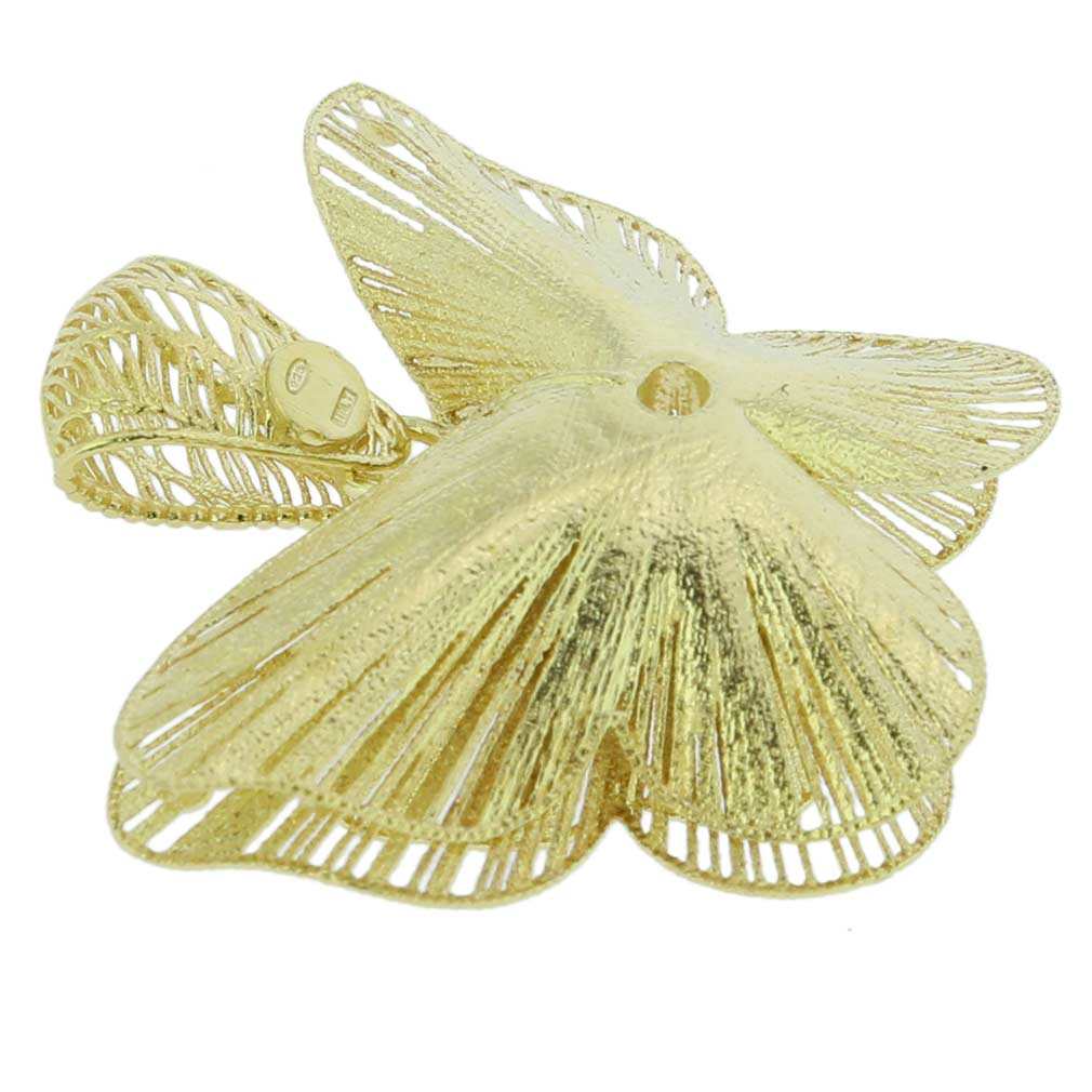 Butterfly Flower Sterling Silver Gold-Plated Pendant